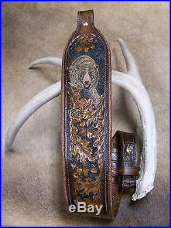 Rifle Sling, Brown Leather, Hand Carved and Tooled in USA, Grizzly