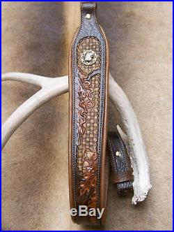 Rifle Sling, Brown Leather, Hand Tooled, Made in the USA, American Eagle