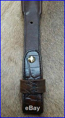 Rifle Sling, Brown Leather, Hand tooled, Made in the USA, Bayou