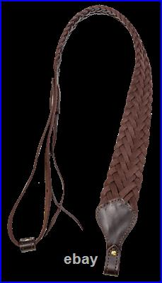 Rifle Sling Leather Brown Braided