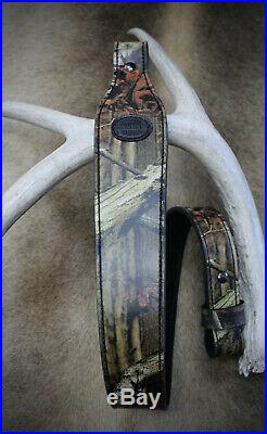 Rifle Sling, Seelye Leather Works, Camouflage Leather Rifle Sling, Made USA