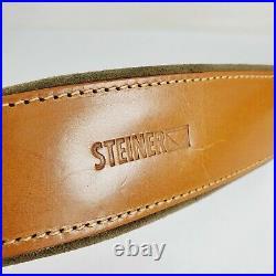 STEINER German Safari Rifle Sling cowhide Leather Brown 7611 lined padded brass