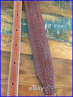 Sweet Vintage 1970's Brown Basketweave Leather Rifle Sling Adjustable