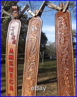 TWO Handmade Hand-tooled/sewn Oak Leather Padded Rifle Adjustable Slings