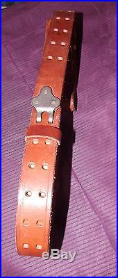 Topgrain Brown Leather Adjustable Rifle Sling with Hooks 1 Wide Excellent