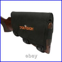 Tourbon Rifle Cheek Riser Rest Ammo Holder+ Leather Shot Gun Sling Swivels Strap