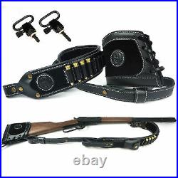 UK 1 Set Leather Canvas Recoil Pad + Rifle Gun Ammo Shoulder Sling For Hunting