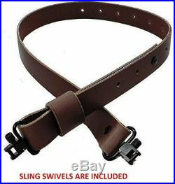 USA Made Adjustable Leather Rifle Sling Brown Buffalo Leather Black Hardware