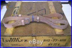 USED MILITARY AK SURPLUS TAN LEATHER RIFLE SLING GOOD SHAPE! 7.62x39 5.45x39
