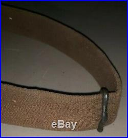 Unknown Web Rifle Sling German Hardware Canvas and Leather Lateral Gate Swivel