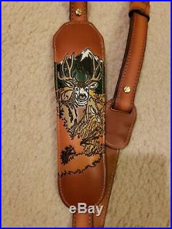 VINTAGE TOREL PADDED TOP GRAIN COWHIDE LEATHER RIFLE SLING #4750 WithWhitetail