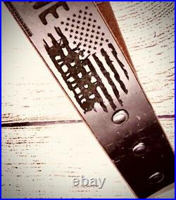 Veterans Leather Rifle Sling Land of the Free Military, Soldier Patriot Gift