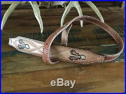 Vintage1970's Brown Leather Rifle Sling Suede Lined Fancy Stitched Buck Deer