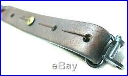 Vintage Adjustable Military Basketweave 1 LEATHER RIFLE SLING VINTAGE SWIVELS