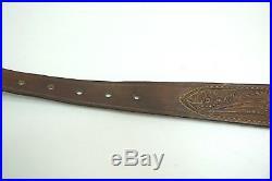 Vintage Bianchi Cobra Sling Tooled Brown Leather Rifle Sling Padded Brass Rivets