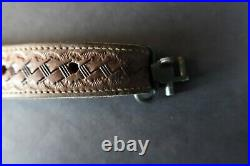 Vintage Browning Tooled Leather Basketweave Rifle Sling