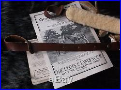 Vintage George Lawrence #6 Brown Leather Shearling Padded Rifle / Shotgun Sling