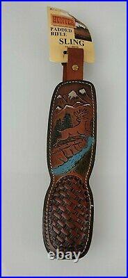 Vintage Hunter Padded Tooled Leather Rifle Sling Deer Mountain Stream Evergreen