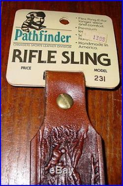 Vintage Hunting Rifle Gun Sling Pathfinder Tooled Leather Outdoor Game Scene NOS