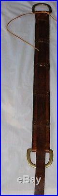 Vintage Leather Brass Rifle Drum Sling Belt Brown Brass Hardware El Cid