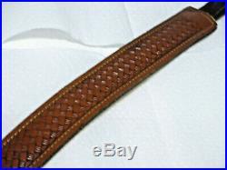 Vintage Leather rifle sling Basketweave