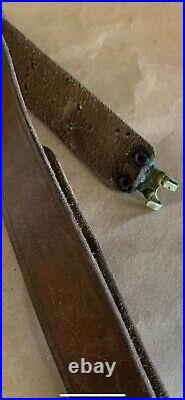 Vintage Military Leather Rifle Sling, Brass, Springfield 1903, Garand Wwi Wwii
