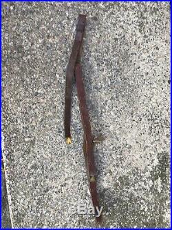 Vintage Old Original Rifle Leather Sling Strap Buckle