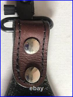 Vintage Shotgun Rifle Sling Strap Padded Top Grain Brown Leather Uncle Mikes