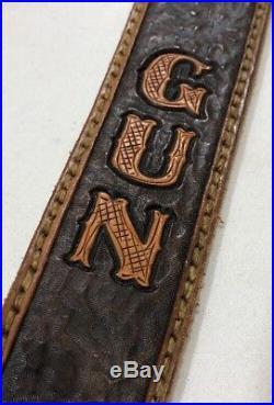 Vintage Stocker Magnum Gun Shop Leather Rifle Shotgun Gun Sling Strap Scarab