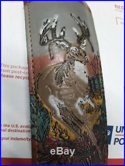 Vintage TOREL Rifle Sling #4755 Embossed Whitetail Motif Leather Cowhide Padded