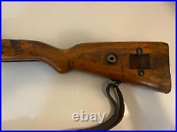 WW2 K98 Polish WZ 29 Mauser Rifle Stock and Vintage Leather Sling