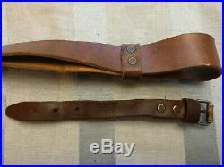 WW2 Mosin Nagant leather rifle sling (S-stitched) FREE SHIPPING