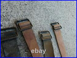 WWI WWII Lot 5 French Leather Rifle Sling LEBEL BERTHIER MAS Metal Buckle