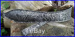 Western Style Embossed Black/Silver Leather Rifle Sling