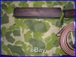 Ww2 U. S M-1 Garand Rifle Butt Stock, Hanguards, & Leather Sling Set = 4 Pieces